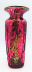 Lot 141 - Colin Heaney Australian Art Glass Vase - Ruby with metallic inclusions - Square shape with flared rim - signed to base & 2006 20cm H