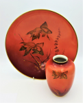 Lot 144 - 2 x Pieces Mid century Hertel Jacob German Porcelain - large Bowl & vase featuring Gold Fish & weed decoration - both pieces marked to base - 30cm Dia