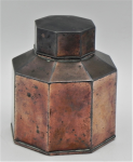 Lot 145 - Victorian Copper plated Octagon Tea Caddy  - with internal fitted lid  12cm H