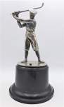 Lot 147 - Vintage Motion Picture Industry Open Golf Championship Trophy - no makers marks sighted, white metal on bakelite base - engraved text to base - 31cm H