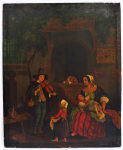 Lot 149 - Artist Unknown 19th Century unframed Oil Painting - Figures in Courtyard with Violin Player - Unsigned - 26x21cm