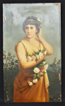 Lot 150 - Artist Unknown c1900 European Oil Painting on panel - A Lady with Flowers - Signed lower right but illegible - 31x19cm