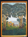 Lot 155 - George M Rathbone (Active 1960-80s) Framed Oil painting - Homestead Through the Gums, 1966 - Signed & Dated 1966, lower right - 60x45cm