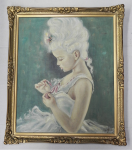 Lot 160 - M Lopez (Active c1960-70s) Gilt Framed Oil Painting - The Pink Ribbon - Signed lower right - frame size 63x54cm