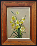 Lot 161 - Artist Unknown (Le Holzer) Framed Oil painting on Canvas - Daffodils - Signed & dated 151003 (1903) lower left - frame size 72x57cm, image size 49x35c