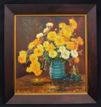 Lot 162 - Norman Bridge (Active c195070s) Framed Oil Painting - Marigolds & Daisies - Signed lower right - in lovely 19th C Cedar Veneer Frame - frame size 69x6