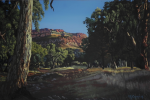 Lot 163 - T A Carafella (Active c1970-80s) Large Unframed Oil Painting - Flinders Ranges, SA - Signed lower right, titled on affixed label verso - 60x90cm