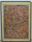 Lot 165 - N Parsa Balinese Painting on cloth of Barong Defeating Rangda, signed lower left N Parsa (Ngakan Ketut Parsa), taken off stretcher and reframed - 58cm