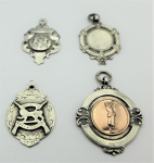 Lot 169 - 4 x Sterling Silver  FOB  medallions - marked BHam 1906, 1921, 1935 & Silver - TW 31 grms