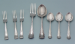 Lot 178 - Sterling Silver Part Sets flatware 8 x pieces Hallmarked Sheffield by Harrison Brothers & Howson (George Howson) incl 3 x cake forks 1949, 3 x coffee