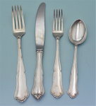 Lot 179 - 4 x pieces Vintage Magnus Aase Norwegian Silver - Knife, spoon & 2 x forks - all matching & marked incl 830s NM - largest fork 19cm L TW 115g