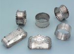 Lot 186 - 6 x Vintage Sterling Silver Napkin Rings - Hardy Bros, Stokes, pair Hallmarked for Birmingham 1871 - TW 160g