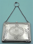 Lot 189 - 1913 SSilver Walker & Hall chatelaine purse containing dance card, pencil etc hallmarked Birmingham 1913 - TW approx 99 grms
