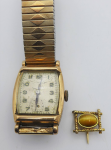 Lot 192 - 2 x pces - Dunklings 9ct gold case Mens Wristwatch, missing seconds hand - ticking, and 14ct Gold tigers eye Tie Pin