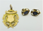 Lot 193 - Group - 9ct gold Medallion & pair 9ct gold black opal earrings
