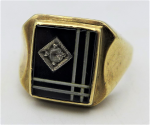 Lot 195 - Gents 9ct rose gold square Signet ring - black enamel pattern set with small diamond - TW 6 1 grms